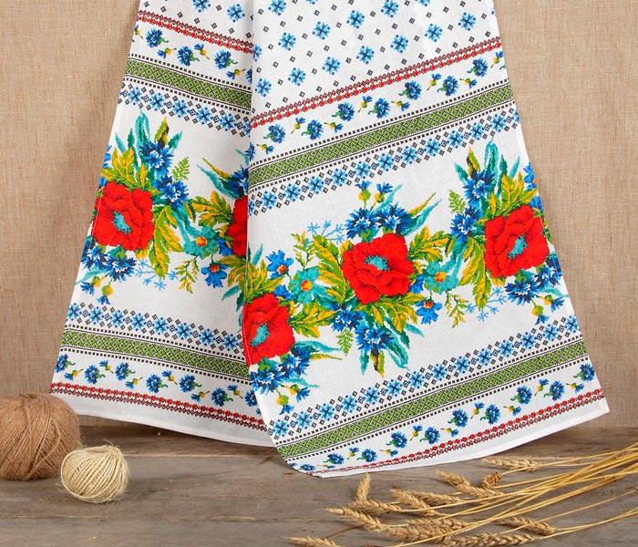 Рушник льняной «Маки», 150 х 36 см