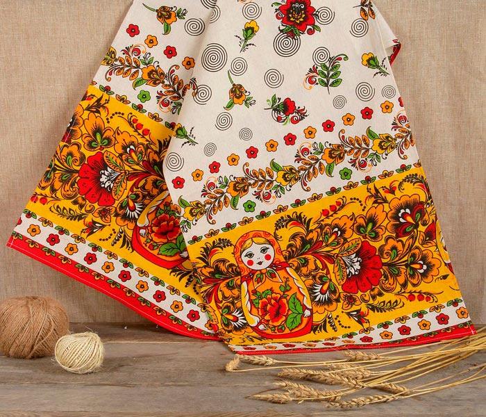 Рушник льняной «Матрёшка», 150х36 см