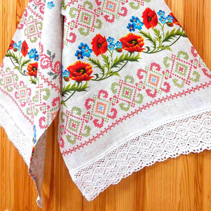 Рушник льняной с кружевами «Цветы», 160х44 см